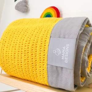 Mama Designs cellular blanket yellow