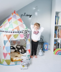 Playtime with our Djeco tent, add some festoon lights, chuck in some cushions and voila!