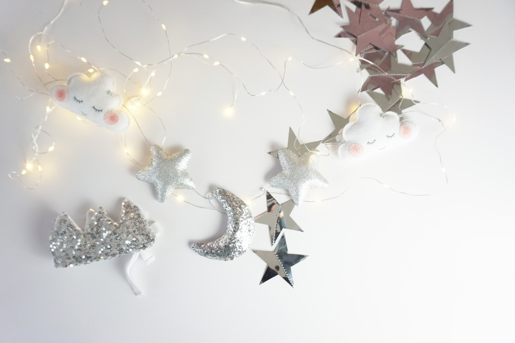 Velveteen Babies Moon, Star and Cloud garland